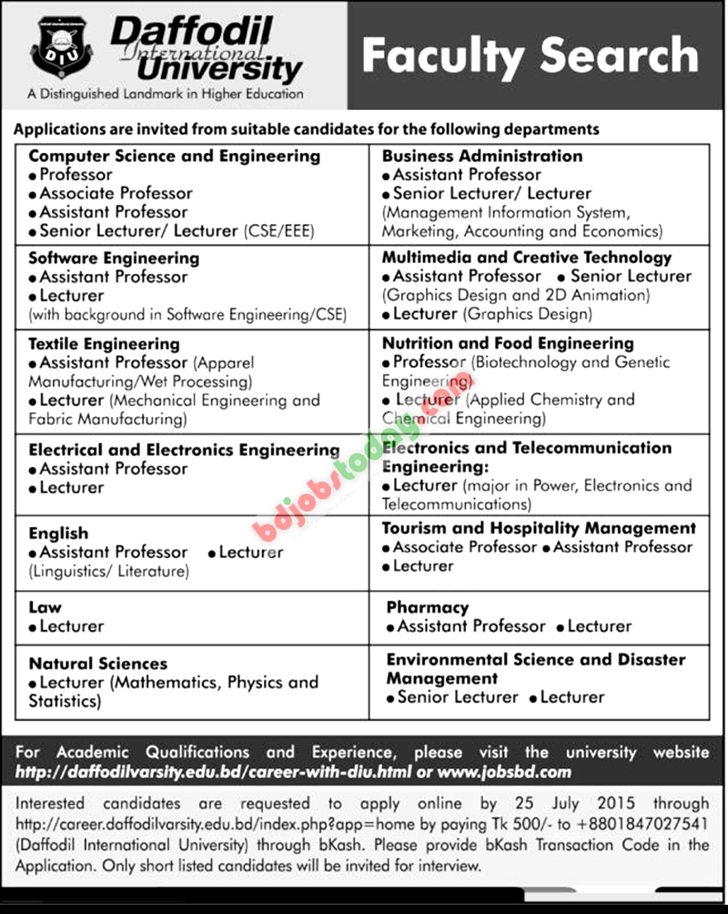 daffodil international university lecturer tourism and daffodil international university jobs