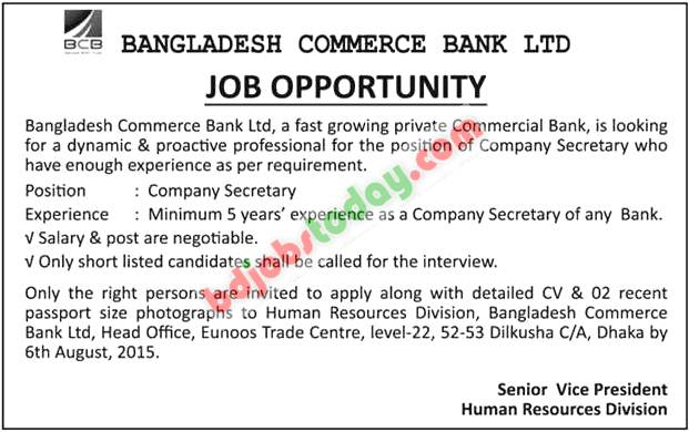 bangladesh commerce bank limited   u0026quot company secretary u0026quot  jobs