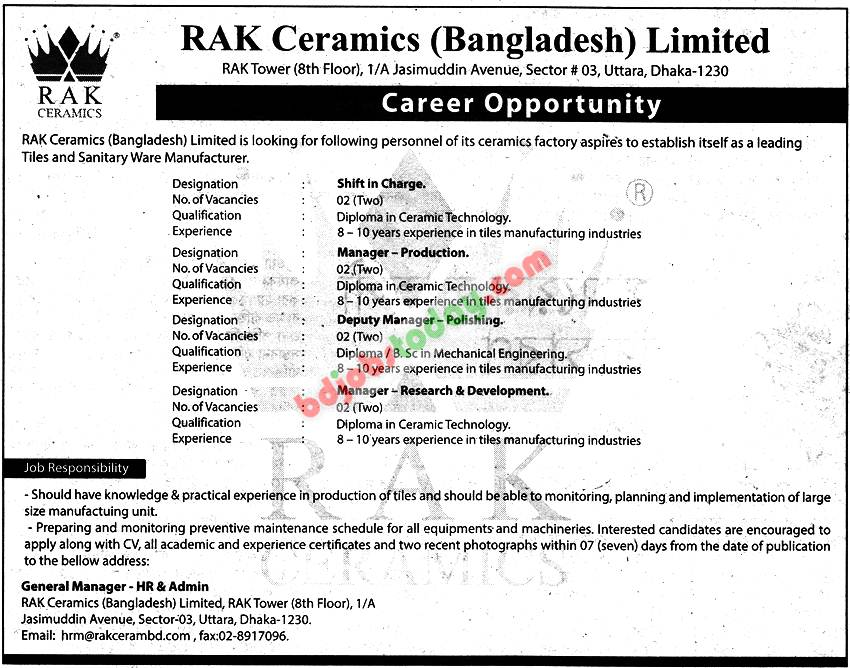 Rak Ceramics Bangladesh Limited Quot Shift In Charge Quot Jobs