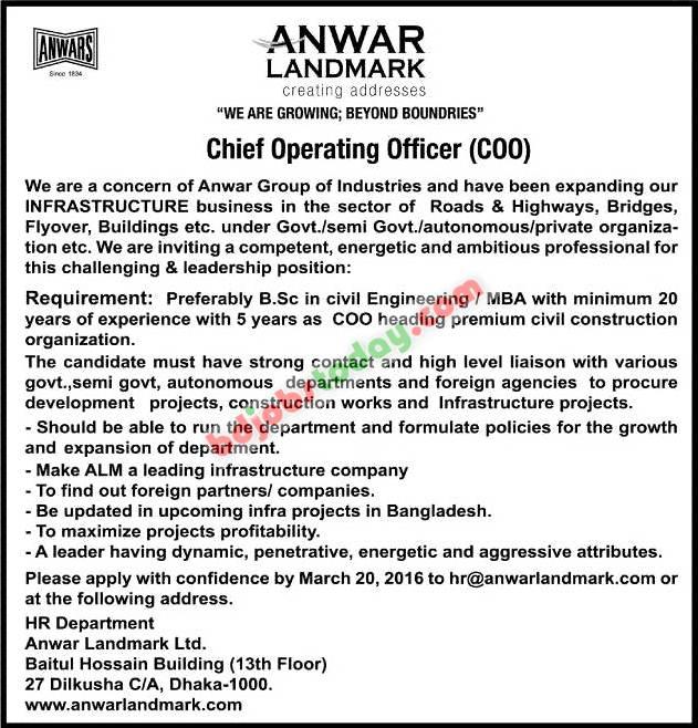 Anwar landmark limited chief operating officer jobs - Chief operating officer jobs ...