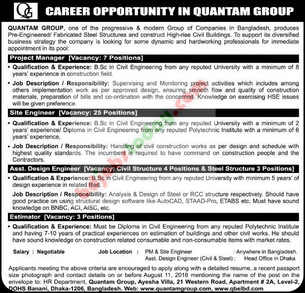 Quantam Group Assistant Design Engineer Jobs  BdjobstodayCom