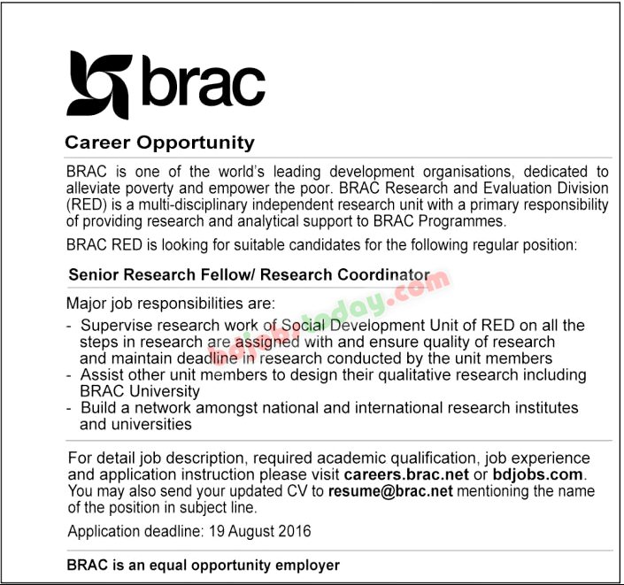 "brac, ""Senior Research Fellow /Research Coordinator"" Jobs ..."
