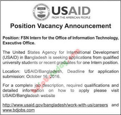 "Usaid, ""Fsn Intern For The Office Of Information Technology"