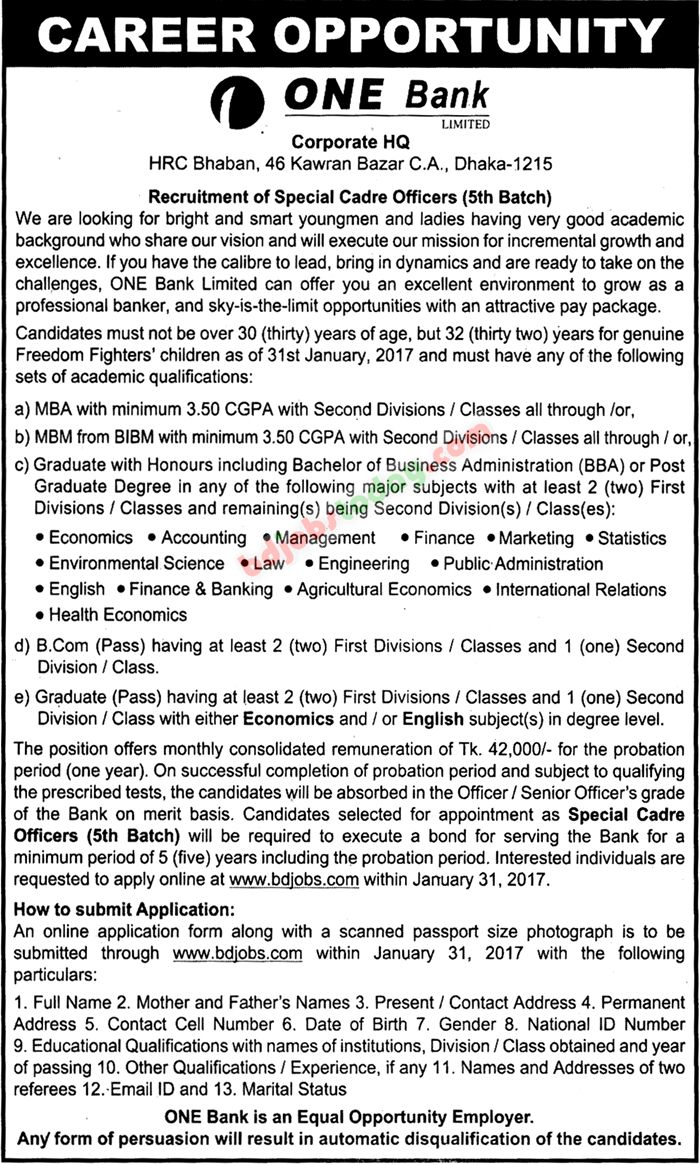 One Bank Ltd jobs