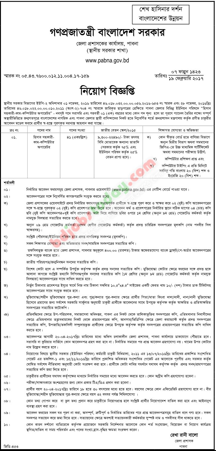 Office of District Commissioner, Pabna jobs