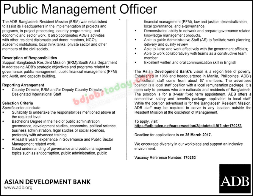 Asian Development Bank -ADB jobs