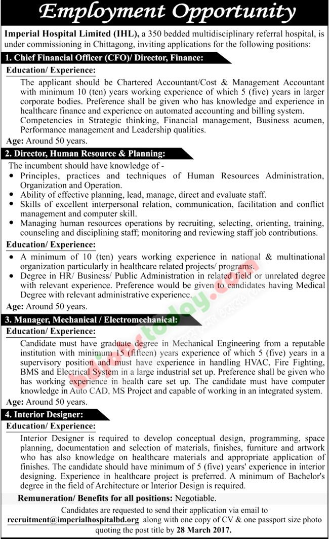 Dhaka Imperial Hospital Ltd jobs