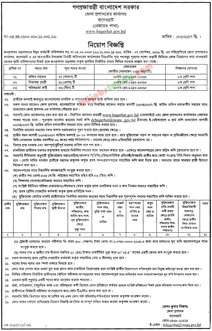 Office of District Commissioner, Bagerhat jobs