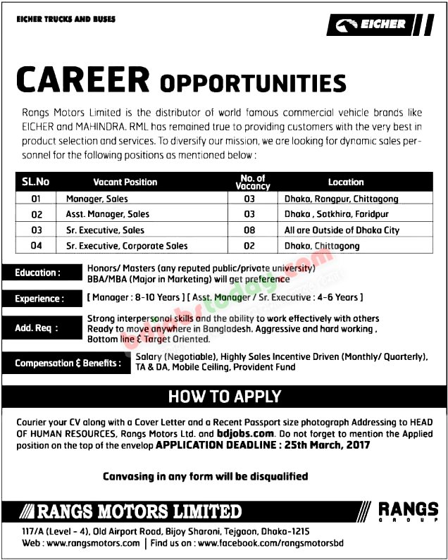 Rangs Motors Limited jobs