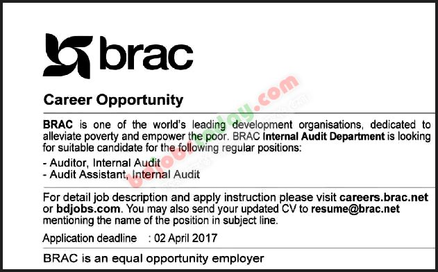Brac Audit Assistant  Internal Audit Jobs  BdjobstodayCom