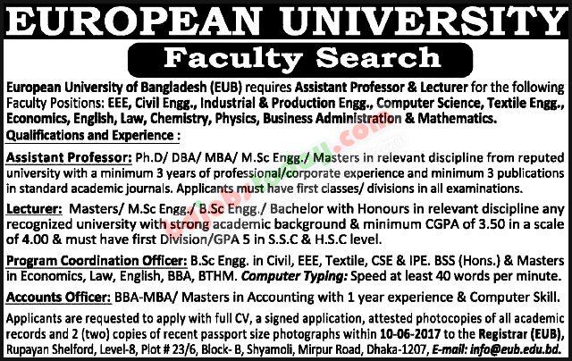 european university of bangladesh eub jobs