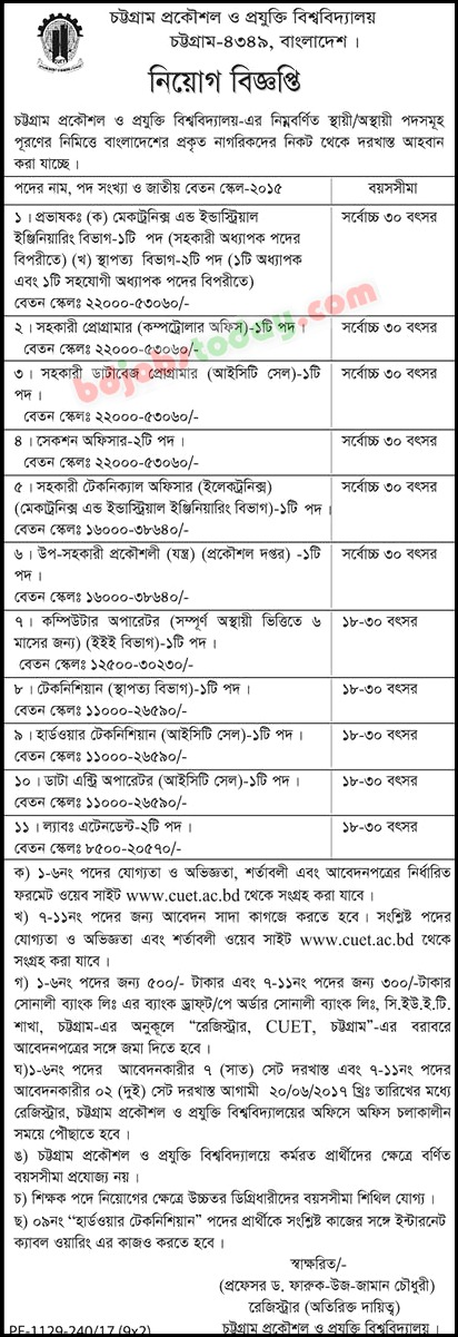position hardware technician chittagong university of engineering and technology cuet jobs - Hardware Technician Jobs