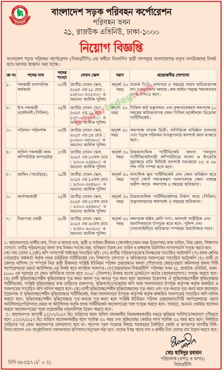 Bangladesh Road Transport Corporation-BRTC jobs