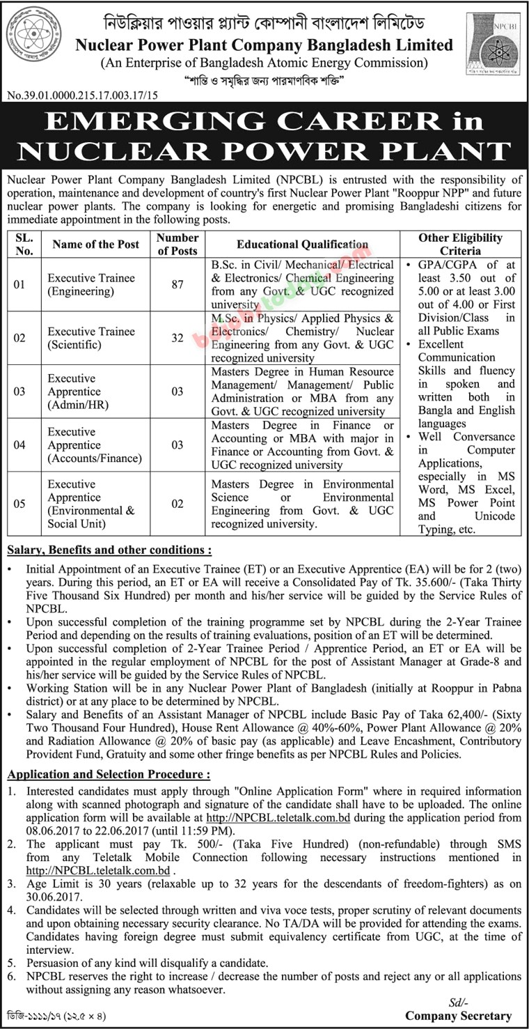 Nuclear Power Plant Company Bangladesh Limited (NPCBL) jobs