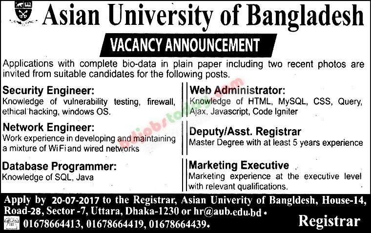 "Asian University of Bangladesh, ""Database Programmer"" Jobs ..."