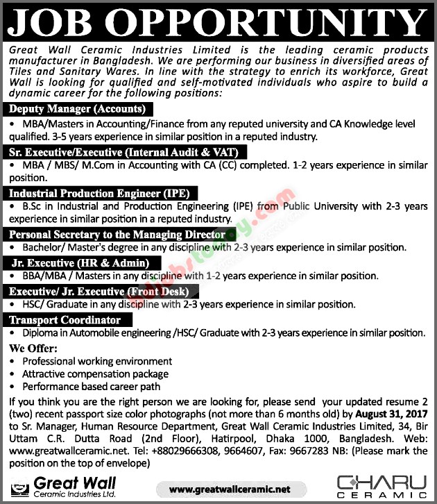 great wall ceramic industries ltd jobs - Production Engineering Job