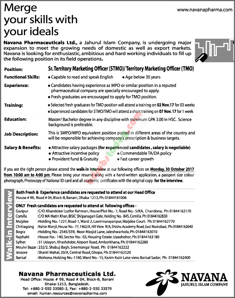 Navana Pharmaceuticals Ltd Sr Territory Marketing Officer Stmo