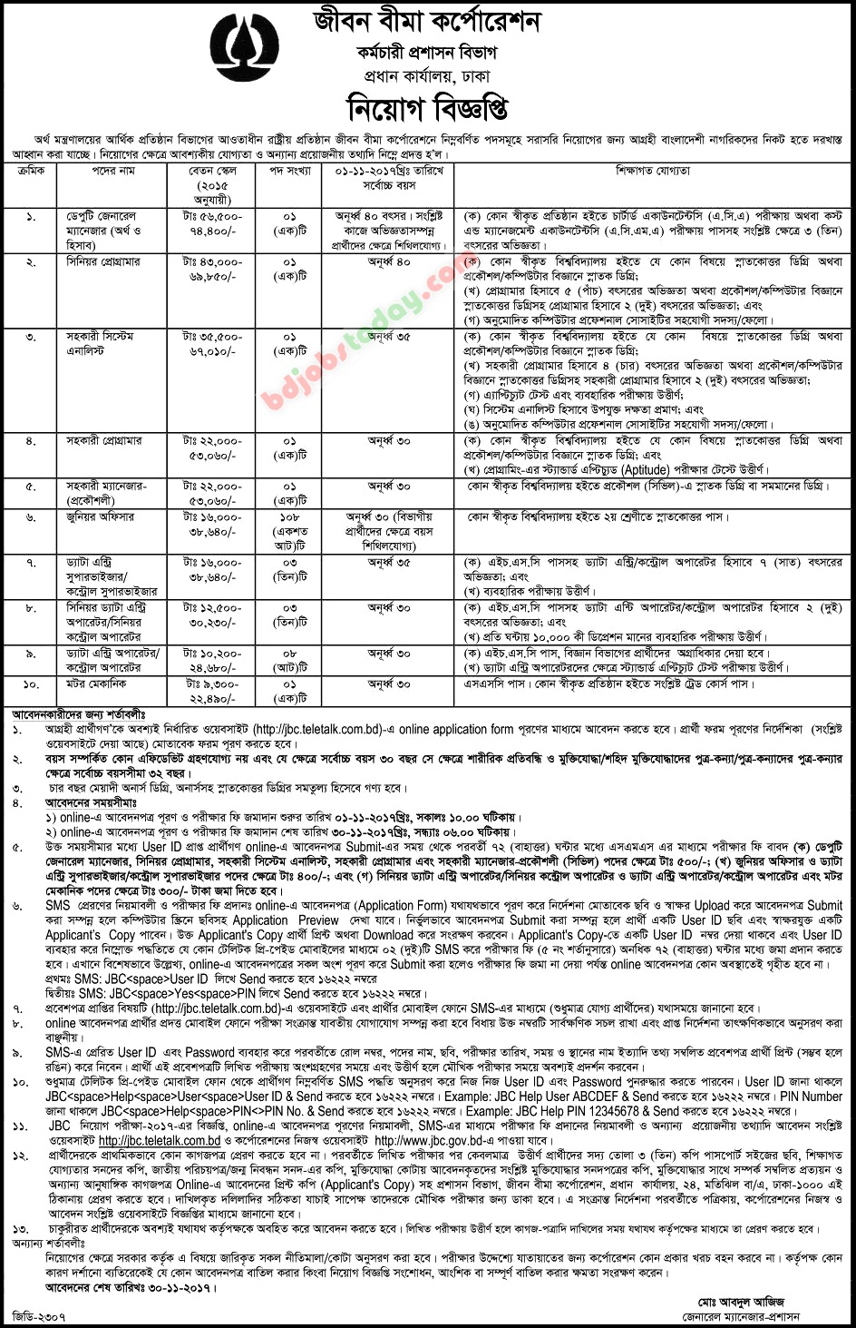 Jibon Bima Corporation jobs