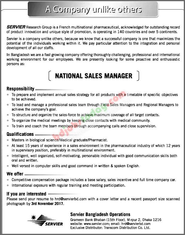 national sales manager job description