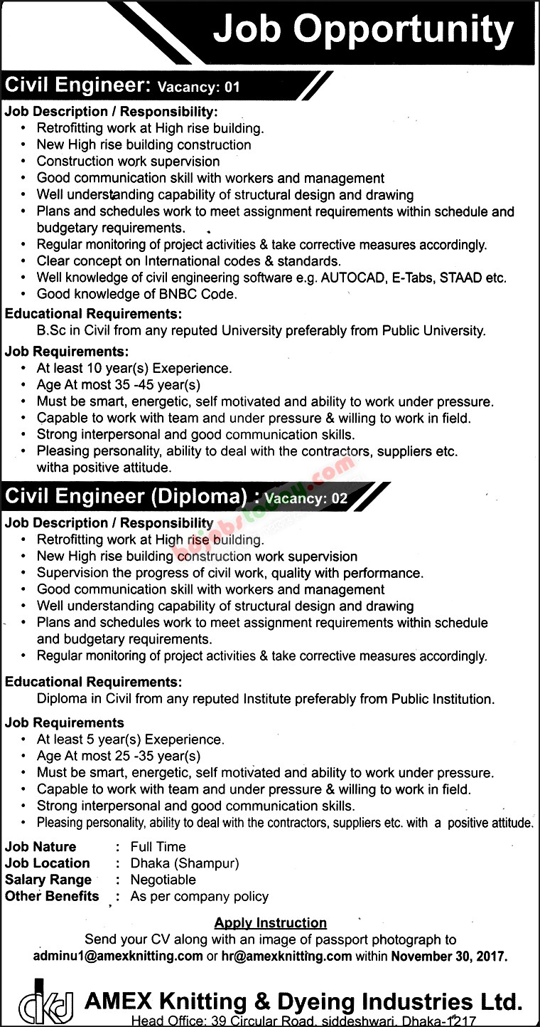 Position : Civil Engineer. AMEX Knitting U0026 Dyeing Industries Ltd Jobs