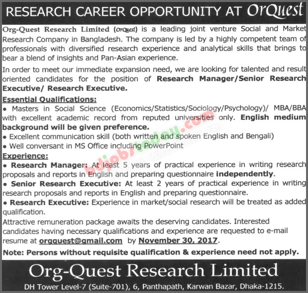 Org-Quest Research Limited (OrQuest) jobs