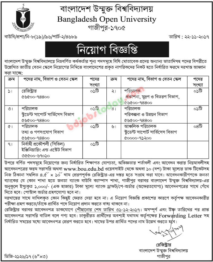 Bangladesh Open University - BOU jobs