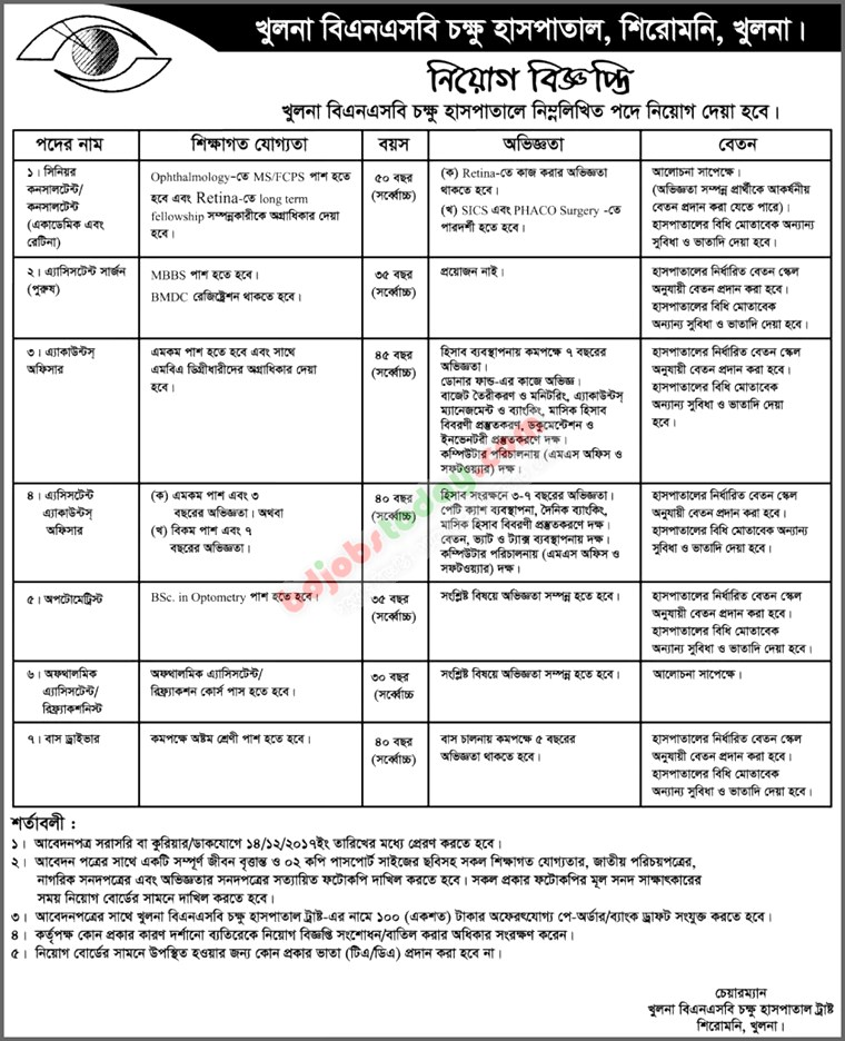 Khulna BNSB Eye Hospital jobs