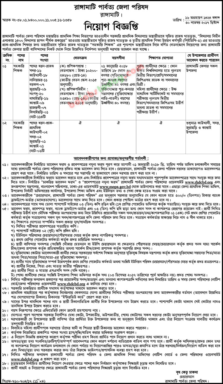 Rangamati Hill District Council jobs