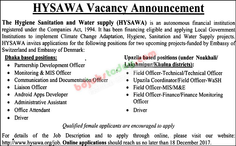The Hygiene Sanitation and Water Supply (HYSAWA) jobs