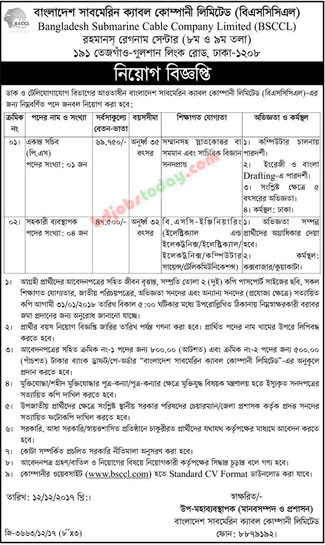 Bangladesh Submarine Cable Company Limited (BSCCL) jobs
