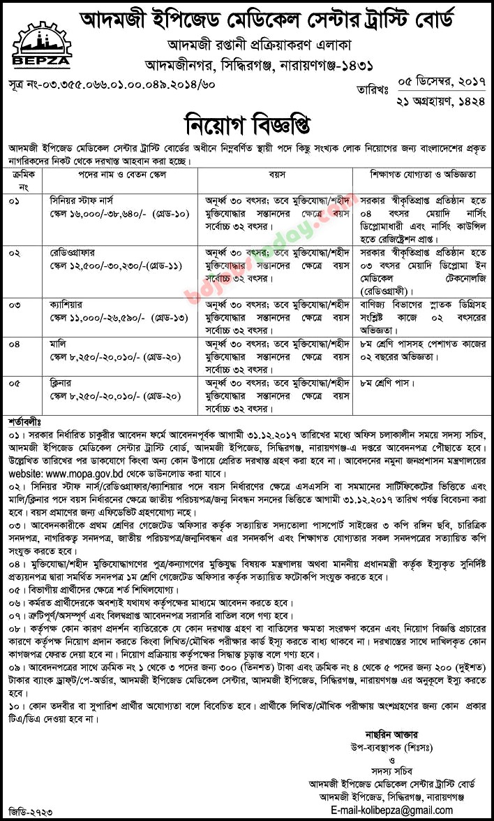 Adamjee epz job vacancy