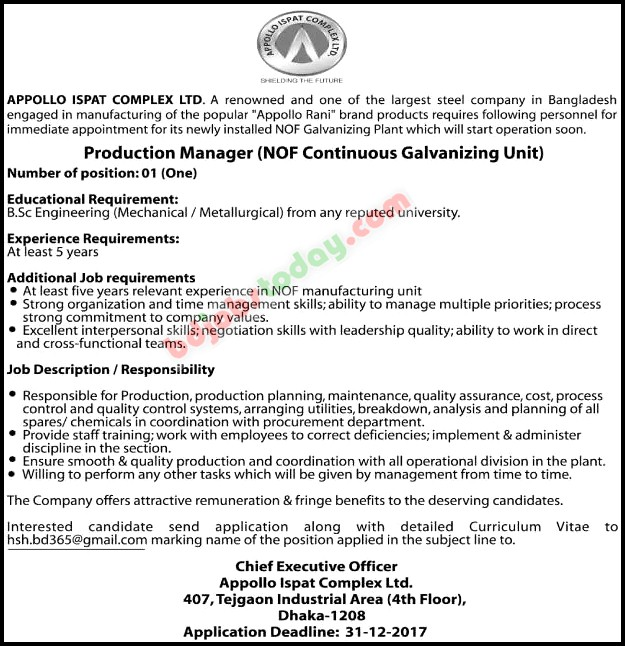 Appollo Ispat Complex Ltd Production Manager Nof Continuous