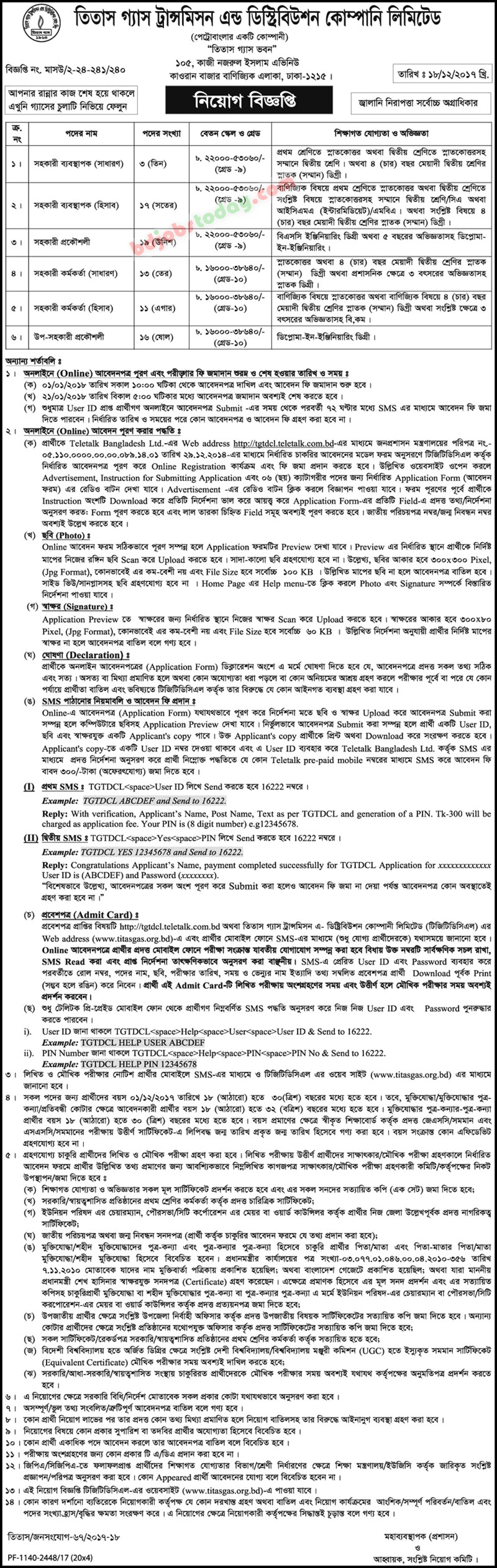 Titas Gas Transmission and Distribution Company Limited jobs