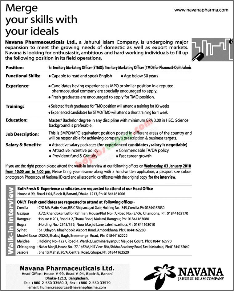 Navana Pharmaceuticals Ltd Sr Territory Marketing Officer Stmo