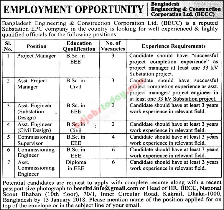 Bangladesh Engineering and Construction Corporation Ltd. (BECC) jobs