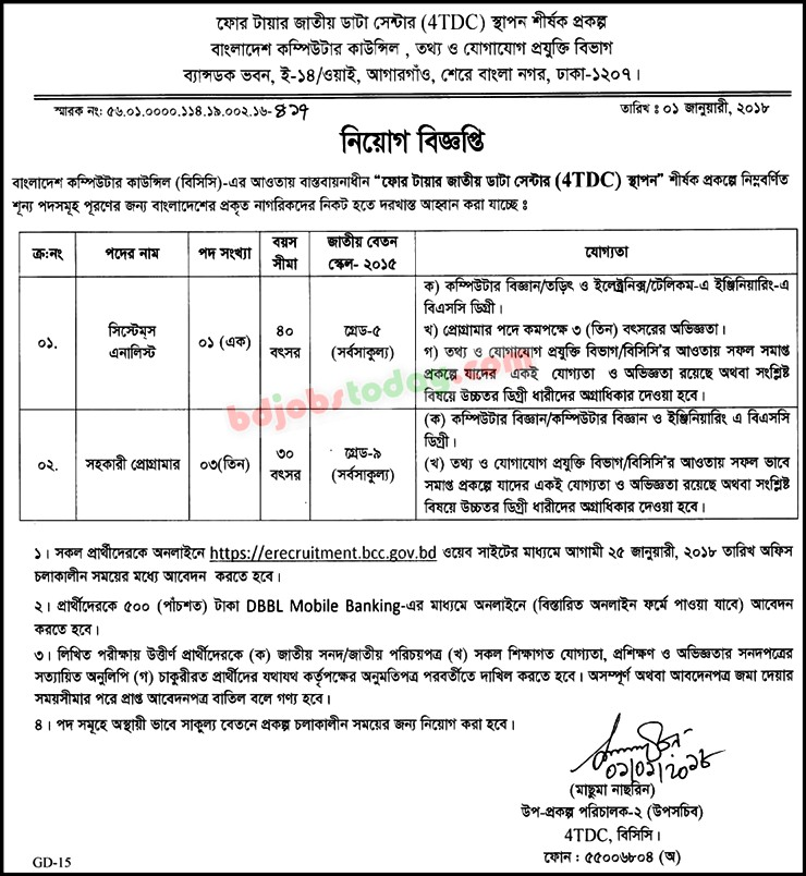 Bangladesh Computer Council Bcc System Analyst Jobs