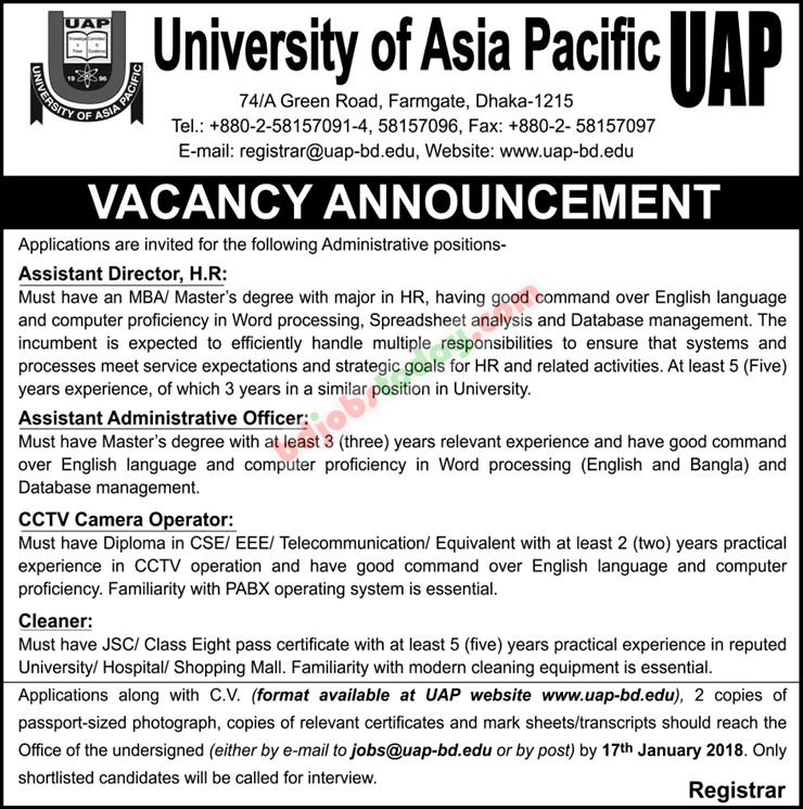 University of Asia Pacific jobs