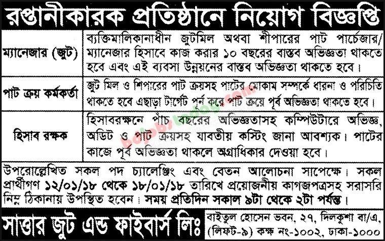 Sattar Jute And Fibers Limited Jute Purchasing Officer Jobs
