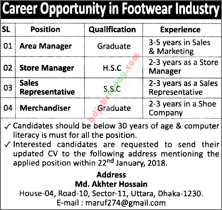 A Footwear Industry jobs