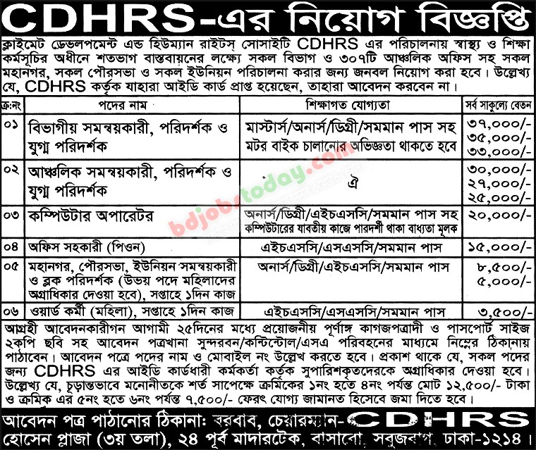 Climate Development and Human Rights Society-CDHRS jobs