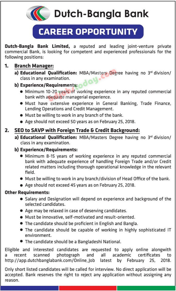 Dutch-Bangla Bank Limited jobs