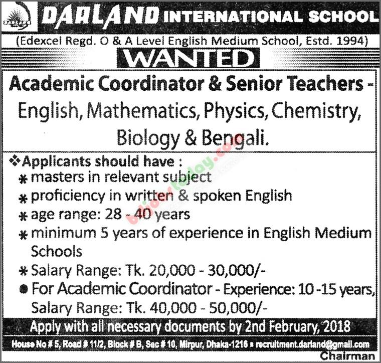 "Darland International School, ""Academic Coordinator"" Jobs ..."