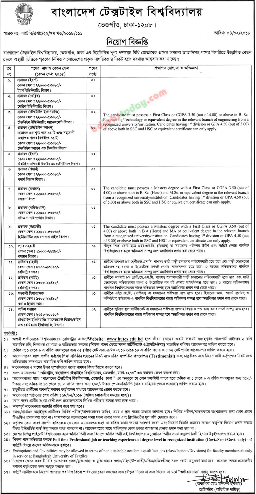 Bangladesh University of Textiles jobs