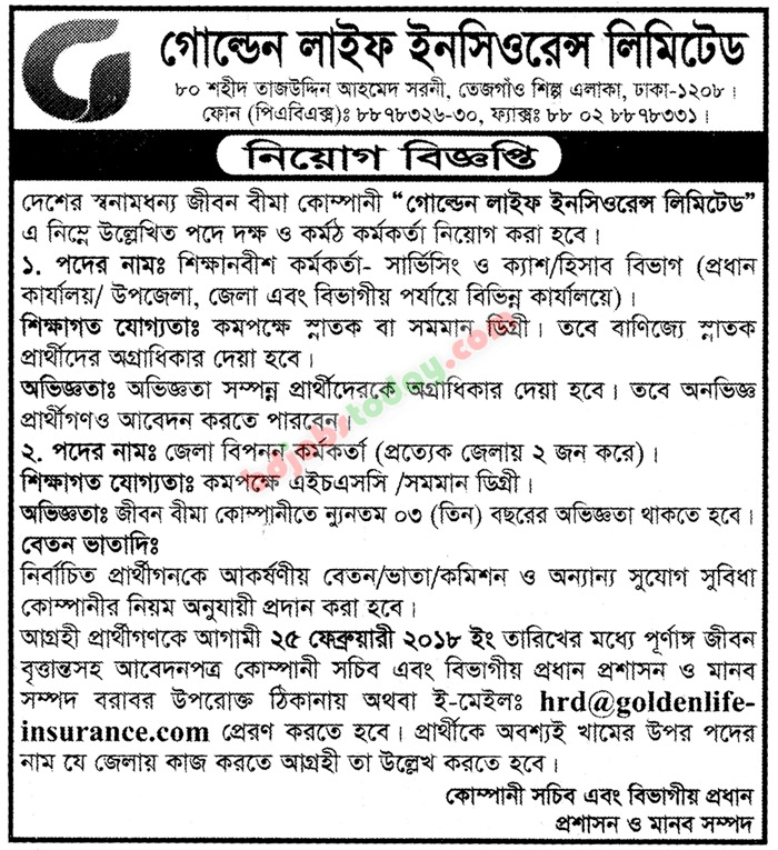 Golden Life Insurance Limited jobs