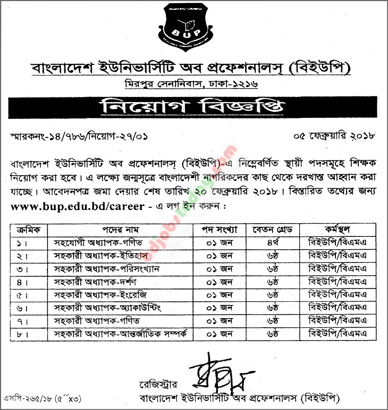 Bangladesh University of Professionals -BUP jobs