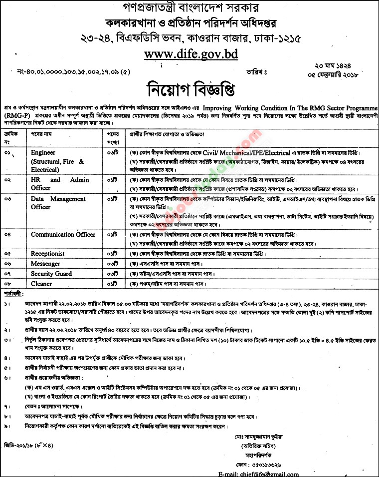 Department of Inspection for Factories and Establishment jobs