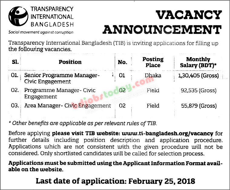Transparency International Bangladesh (TIB) jobs