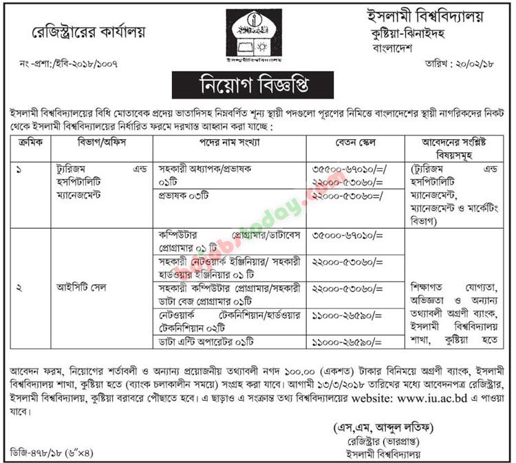 islami university kushtia jobs