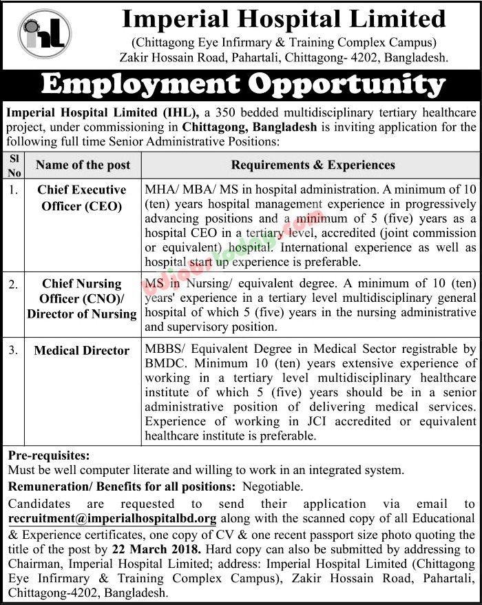 Imperial Hospital Limited Medical Director Jobs  BdjobstodayCom