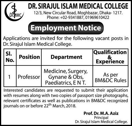 Dr. Sirajul Islam Medical College jobs